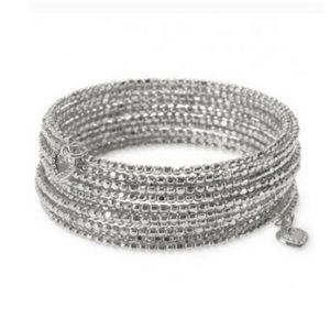 Stella Dot Bardot spiral bracelet silver tone NEW